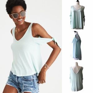 AEO Soft & Sexy Cold Shoulder Tie Sleeve Top